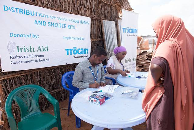 An Irish Aid-funded Trócaire distribution of aid to people displaced by conflict in Somalia.