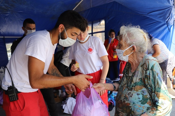 Emergency supplies being provided by Caritas Lebanon to people affected by the explosion.