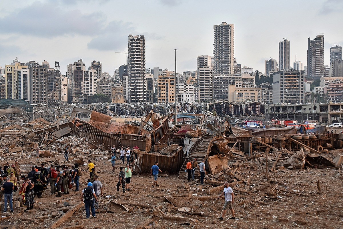 Two weeks ago Beirut was devastated by this explosion that killed 178 people and injured over 6,000. The blast has destroyed the port area of Beirut and 300,000 people are left without homes. The devastation was caused by 2,750 tons of ammonium nitrate.