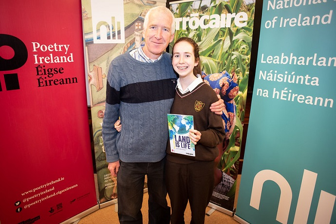 Sineád O'Reilly with her proud father Senan at last year's awards event. This year, Sineád was winner in the Post Primary Junior category. Photo : Garry Walsh