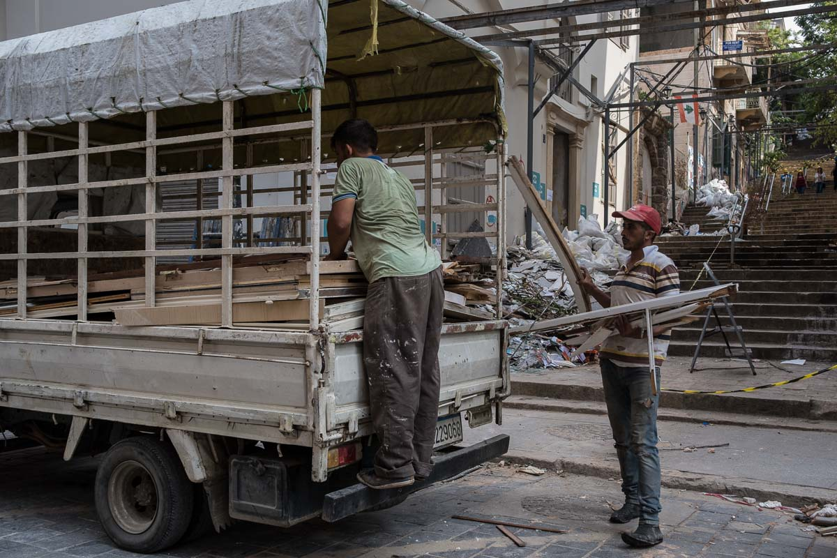 Cleaning rubble in the centre of Beirut.