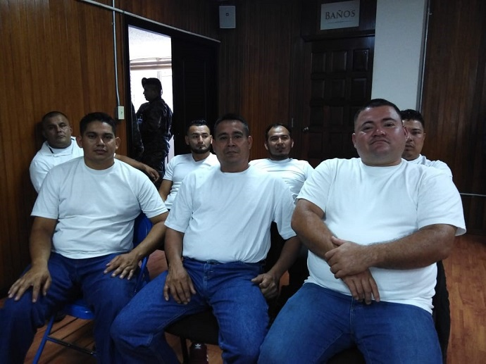 Some of the Guapinol human rights defenders pictured in court in Honduras.