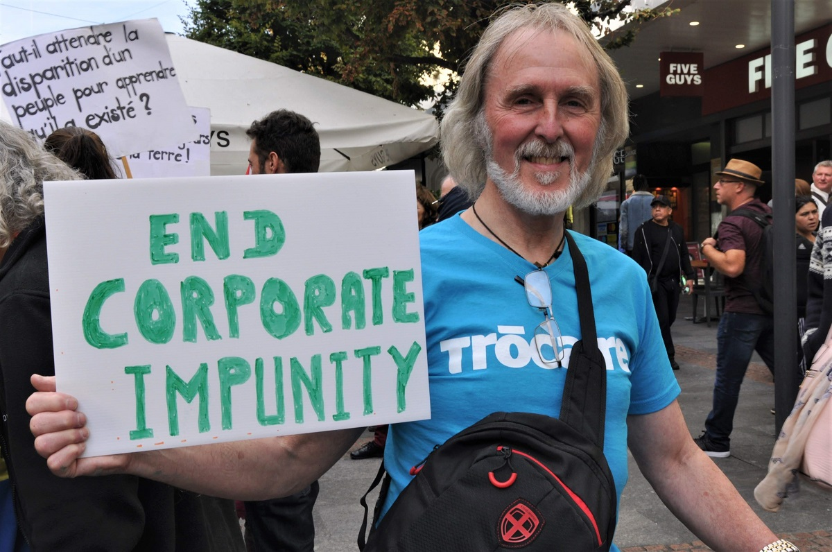 Trócaire activist Tony Devlin travelled to Geneva in 2019 to put pressure on the Irish government to take action on corporate accountability. Photo : Jeannie McCann / Trócaire
