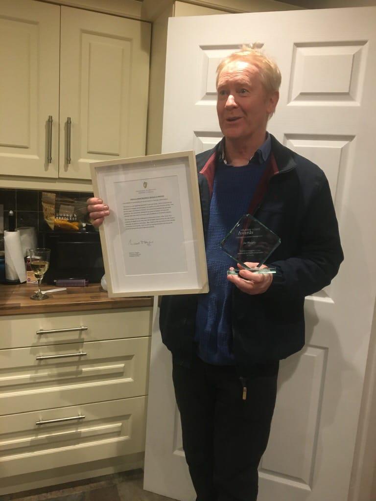 Joe receives his awards