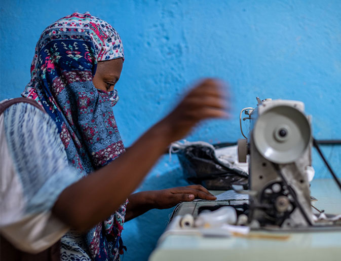 Selamawit Gezahgn, 29 from Addis Ababa, is also using sewing skills she has learnt through the project to generate an income. Photo: Barnaby Skinner.