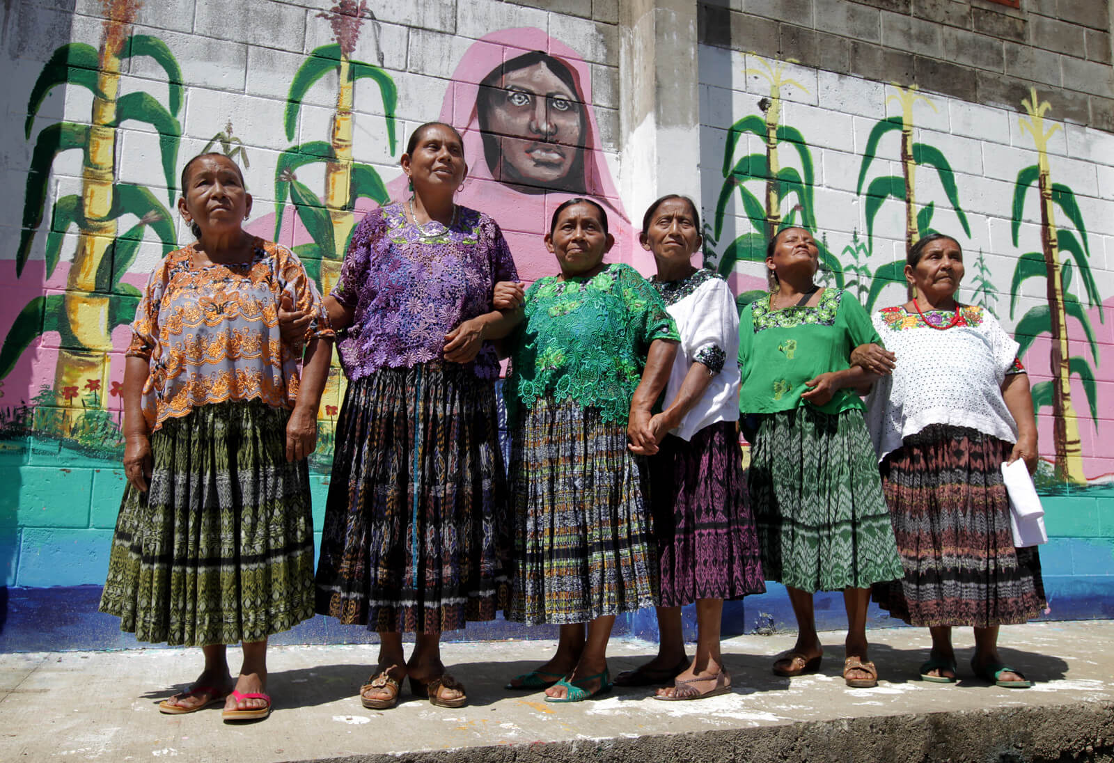 Some of the Maya Q'eqchi' women of Sepur Zarco in Guatemala who experienced sexual violence and sexual slavery at the hands of the military in the 1980s. After fighting for justice for decades, a landmark legal ruling in 2016 found two military commanders guilty of committing crimes against humanity. Photo: Mark Stedman / Trócaire.