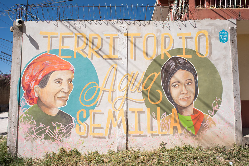 """""""Territory, water and seeds"""" reads a mural celebrating indigenous peoples struggle for their resources, Honduras. Photo: Garry Walsh"""