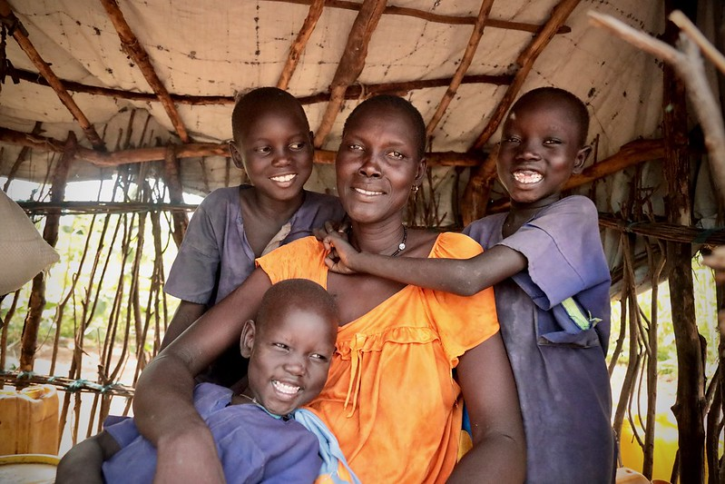 Ajak and her family feature on this year's Trócaire box. They are one of millions of South Sudanese families displaced by war in their country. Photo : Achuoth Deng