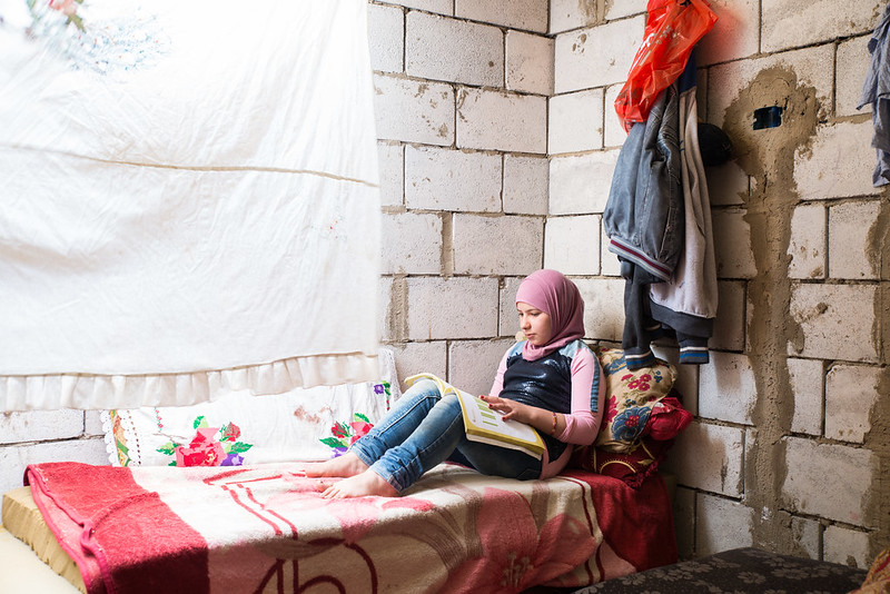 Many Syrian refugees like Amira's family are living in very basic accommodation, this home has no windows and doors and floods in winter. Many Syrian refugees fled their homes a decade ago and it is not safe for them to return. Photo : Simon Walsh / Trócaire.