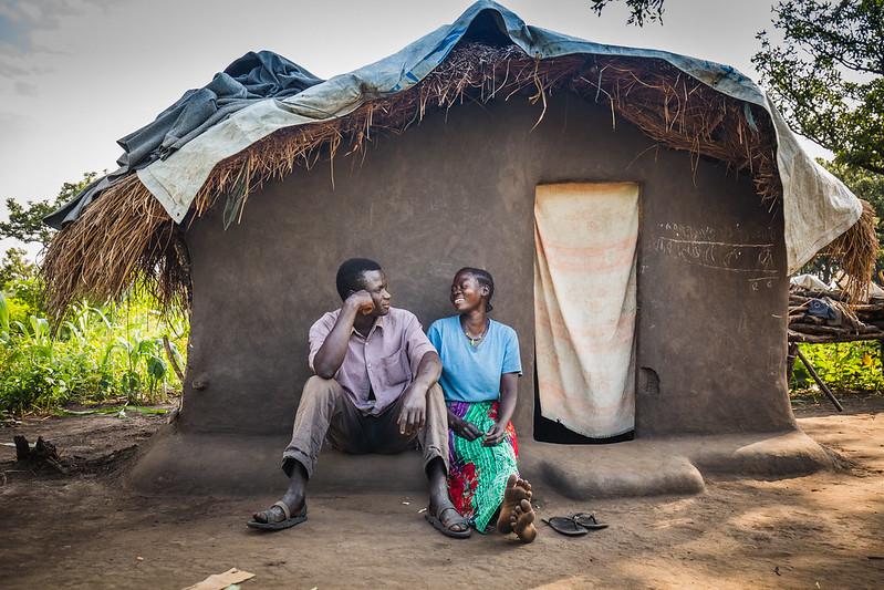 Established home made from mud inside Palabek reufgee camp in Uganda. Photo : Sarah Fretwell