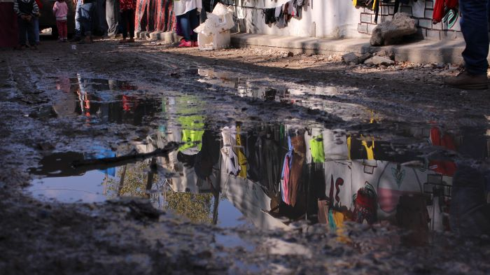 Syrian refugee camps often face flooding and snow during harsh Winter weather. Photo : SAWA