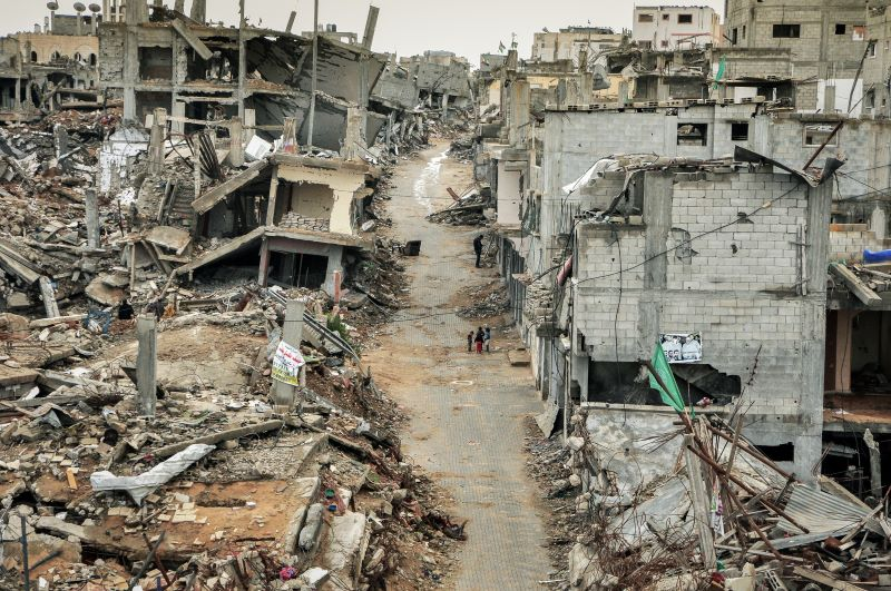The Shejaiya neighbourhood after the 2014 war in Gaza, almost the entire residential neighbourhood lay in ruins. Photo : Garry Walsh