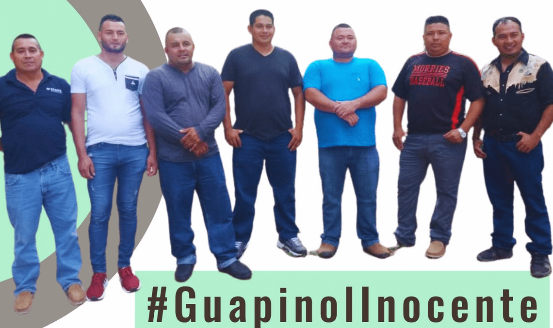 Some of the innocent men from Guapinol who are being unlawfully detained for peacefully protesting the exploitation of their communities river