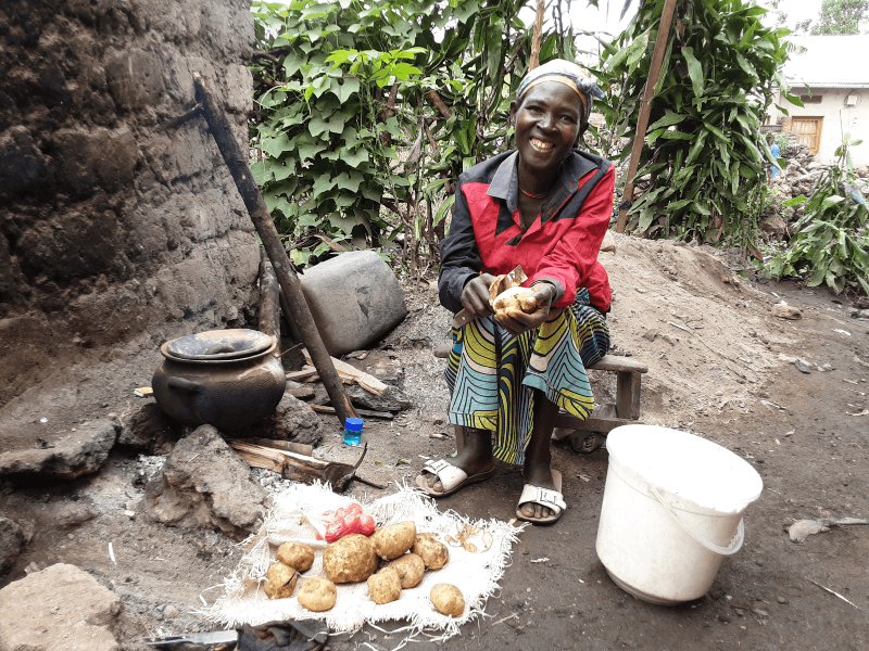Pelagie is very happy with food purchased with cash received through Start Fund Photo Credit: Trócaire